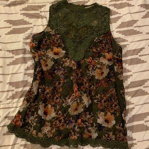 Sheer Sleeveless Floral Blouse